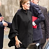 All eyes were on the queen's chic black cape while attending an art exhibition opening in Düesseldorf, Germany, in October 2015.