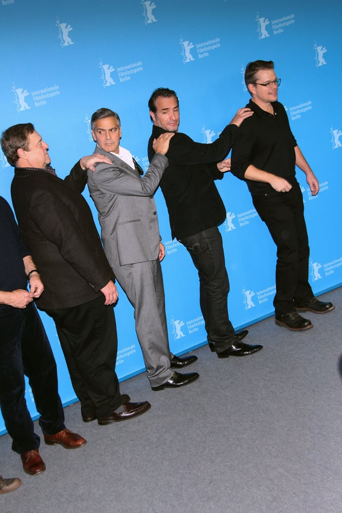 John Goodman and Jean Dujardin hung out with The Monuments Men costars George and Matt at their premiere on Saturday.