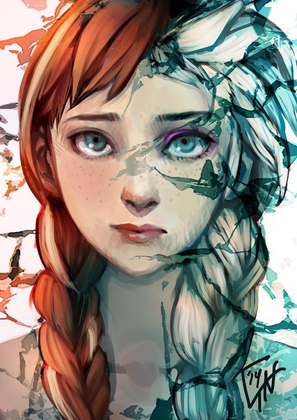 Faceoff Anna and Elsa