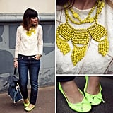 Make a serious case for neon hues via a tribal-infused bead necklace and electric green flats. Photo courtesy of Lookbook.nu