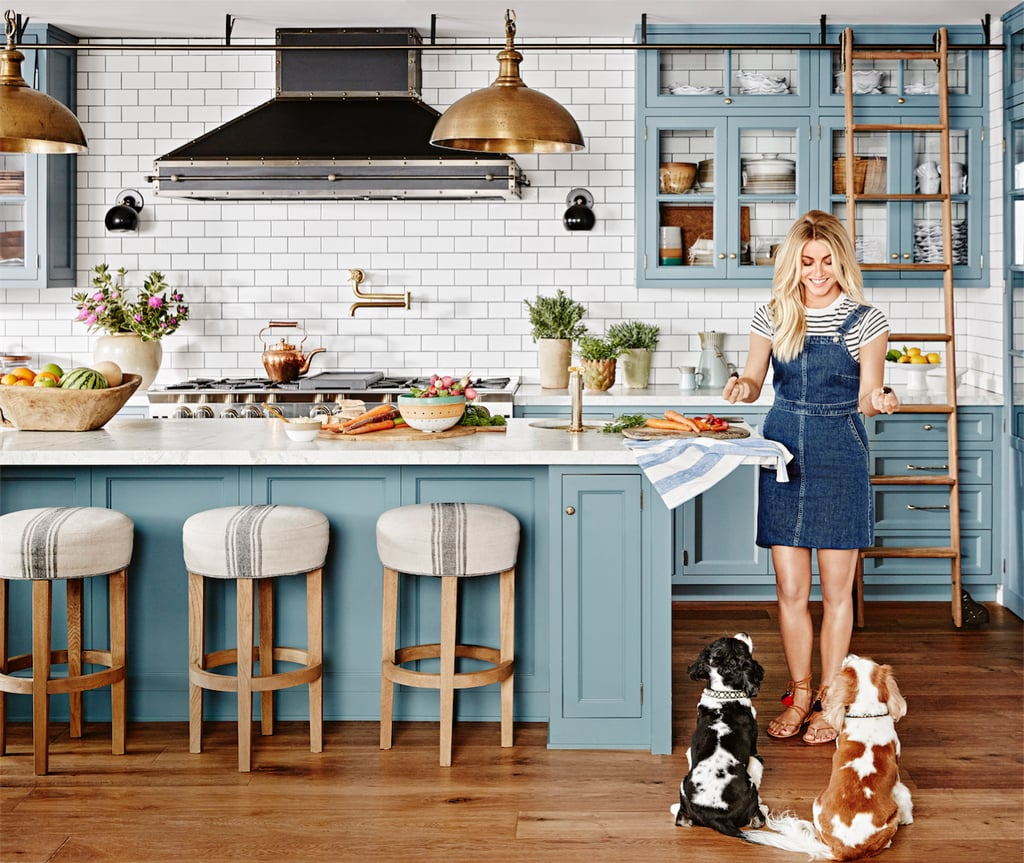 On her design style muted earthy greens browns blues for Earthy kitchen designs