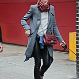Top Casual Leather Skinnies and a Heather-Gray Sweatshirt With a Sophisticated Blazer Jacket