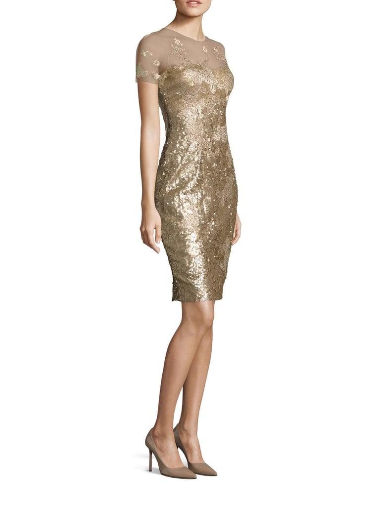 Rene Ruiz Sequin Applique Sheath Dress | Amal Clooney Wearing Gold ...