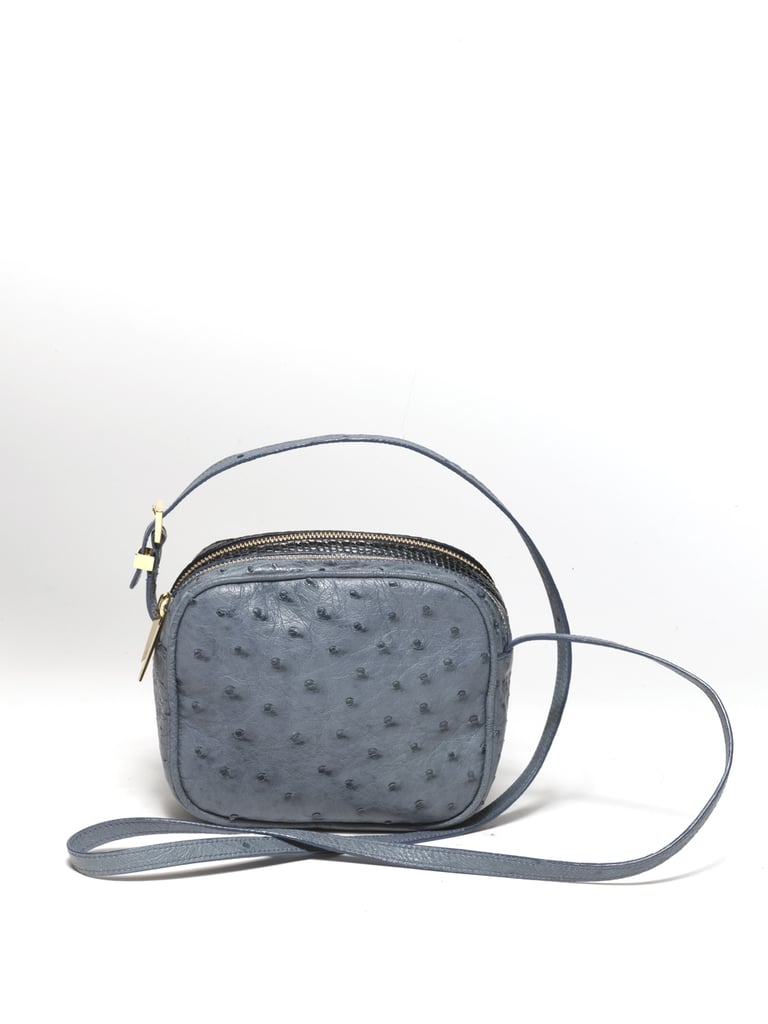 Twin Mini Double Zip Messenger in Blue Ostrich