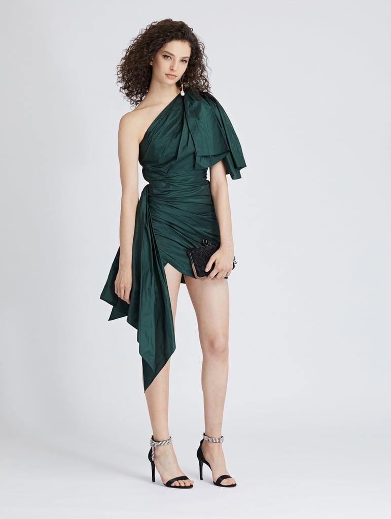 Oscar de la Renta One-Shoulder Silk-Taffeta Cocktail Dress