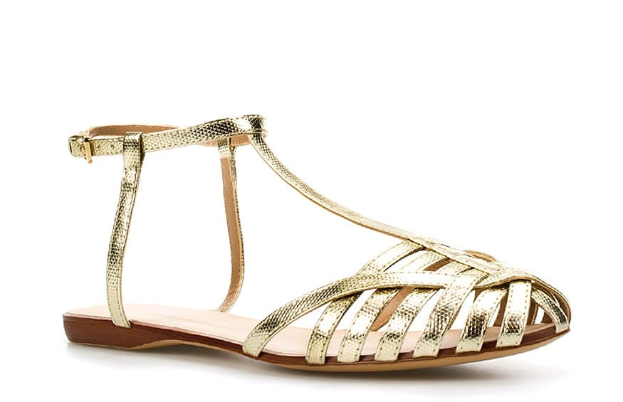 Inject a metallic flash to your Summer outfit with a simple sandal silhouette. Zara Plaited Jelly Shoe ($50)