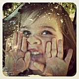 Harper Smith made funny faces in the car. Source: Instagram user tathiessen