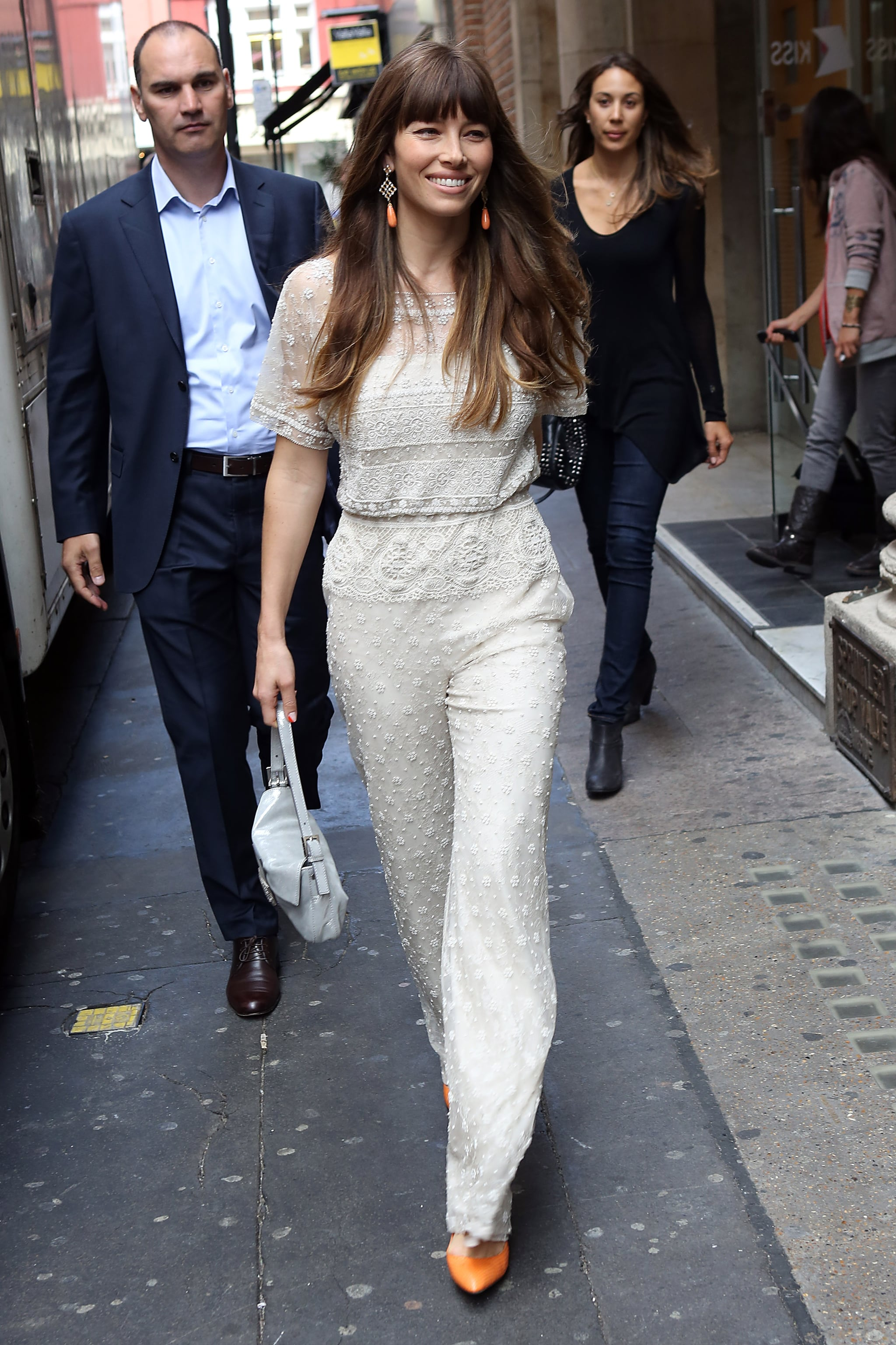 Jessica Biel looked happy to appear on Kiss FM radio in London.