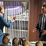 Emily Deschanel as Bones and David Boreanaz as Booth.