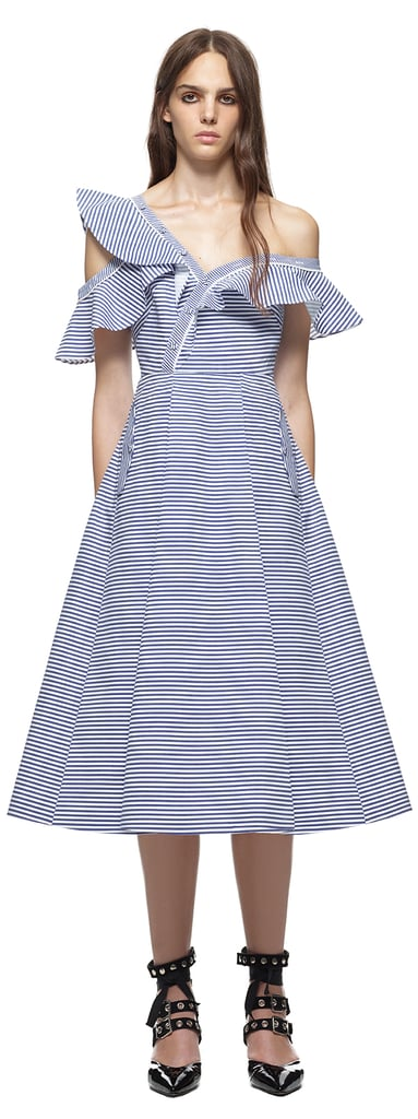 """Stripes are a print that screams """"Summertime,"""" but go for a standout silhouette with Self-Portrait's Asymmetric Frill design ($545)"""
