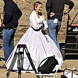 Amy Poehler was dressed in historical attire on the set of Parks and Recreation at the Disney Golden Oaks Ranch in Newhall, CA, on Wednesday.