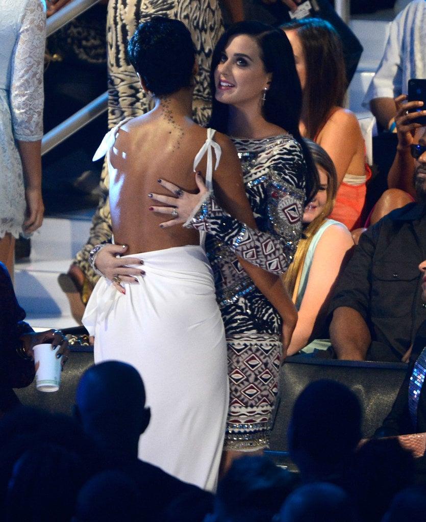 Rihanna and Katy Perry shared a hug at the 2012 show. | Highlights ...