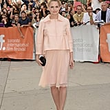 Jennifer Morrison was pretty in pastels by Max Mara and leopard pumps at the August: Osage County premiere.
