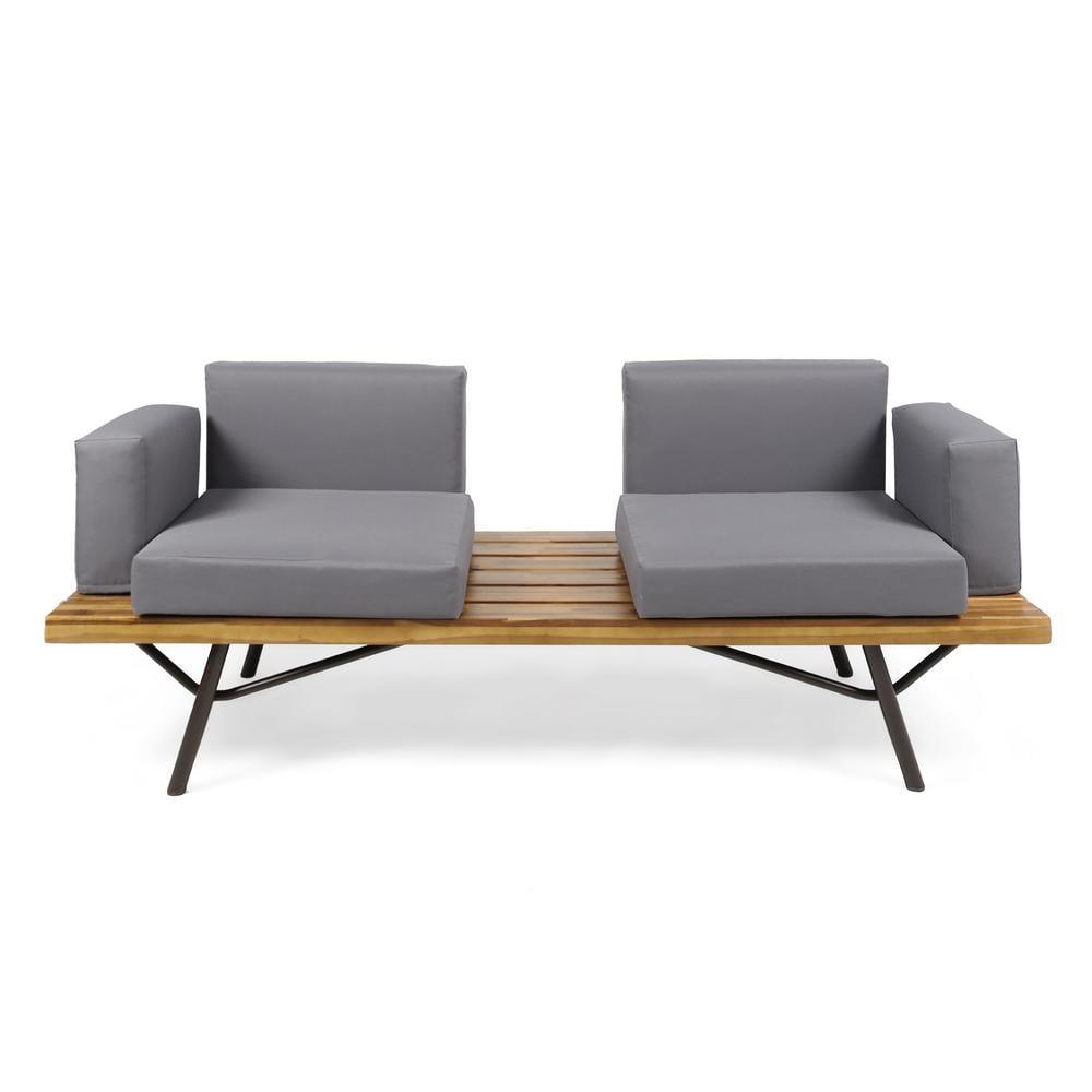 Noble House Canoga Teak Finish Wood Outdoor Sofa