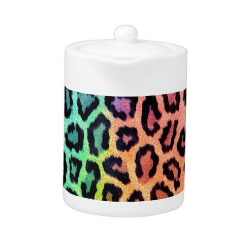 Rainbow Leopard Fur Teapot