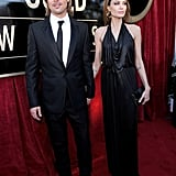 Brad Pitt with Angelina Jolie in Jenny Packham at the SAGs.