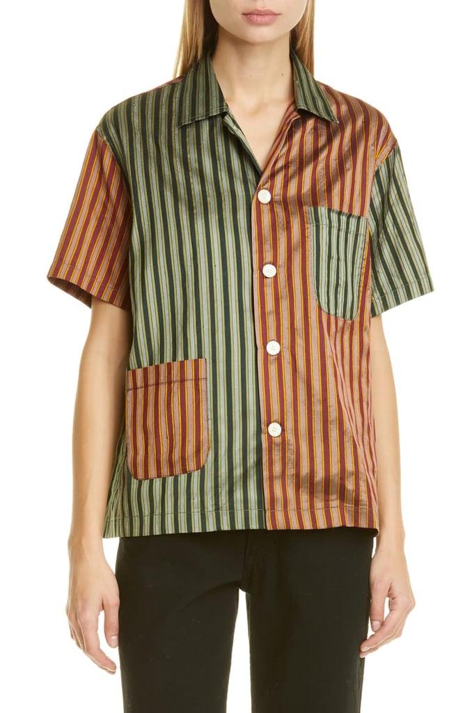 Bode Louie Two-Tone Silk Shirt