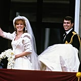 """Sarah Ferguson When Sarah was having her wedding dress made in 1986, she requested that an """"A"""" for Andrew be embroidered into the train of her wedding dress, along with waves in tribute to her new husband's naval career."""