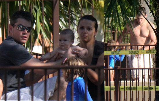 Matt Damon and Family Poolside