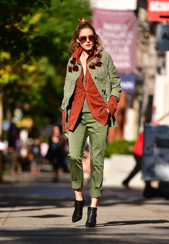 While shooting for Banana Republic, Olivia styled her rustic brown button down with an army-colored top, jacket, and pants.