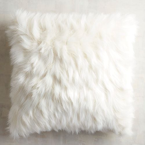 Oversized Ivory Faux Fur Eyelash Pillow
