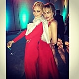"Jaime King and her ""sister"" Dakota Johnson (daughter of Melanie Griffith and Don Johnson), were ladies in red at the Art of Elysium's Heaven Gala. Source: Instagram user jaime_king"