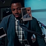 Hannah's death really does affect everyone at Liberty High, including Mr. Porter (Derek Luke). The stress surrounding a teen suicide at the high school is hitting him pretty hard based on his facial expression.