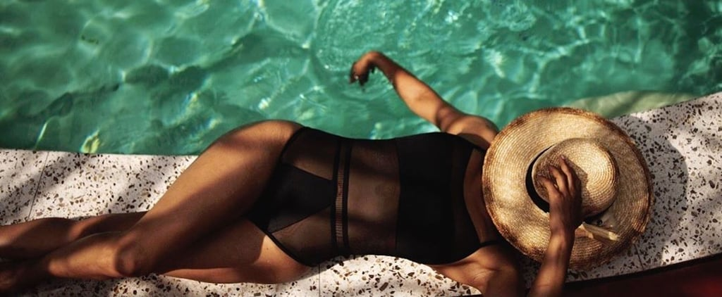 Halle Berry Black Mesh Cutout One-Piece Swimsuit