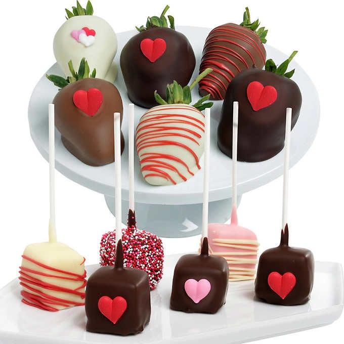 Heart Belgian Chocolate Covered Strawberries and Cheesecake Combo ($40)