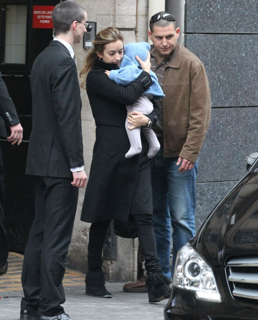 Aleph Millepied was carried out of the hotel in Paris with mom Natalie Portman close behind.