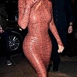 Kim's Skintight Snakeskin Dress Is a Vintage Piece From Mugler