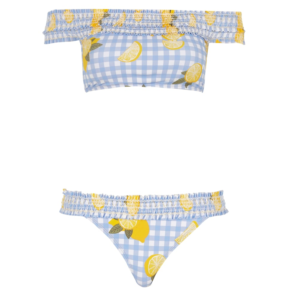 Add a Sicilian touch to one of the prints of the season with this lemon-covered gingham bardot bikini top (£20) and briefs (£14) from River Island.