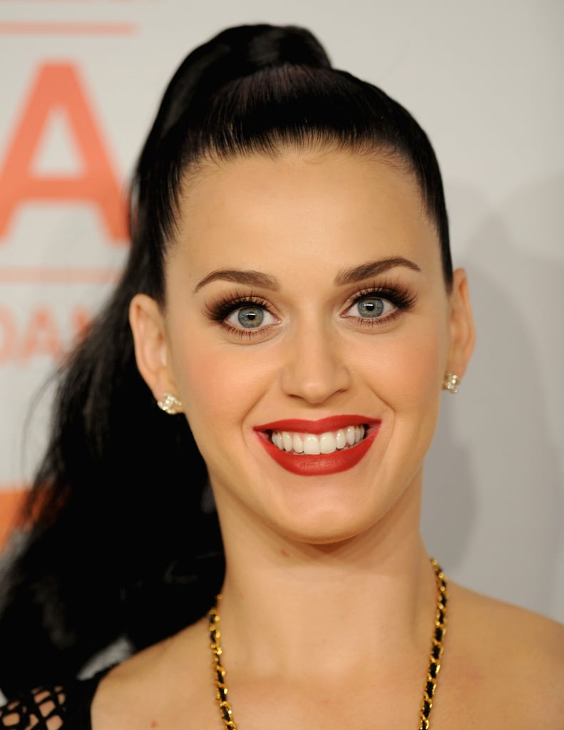 Katy Perry paired a bold red lip with a high ponytail at the MTV EMAs.