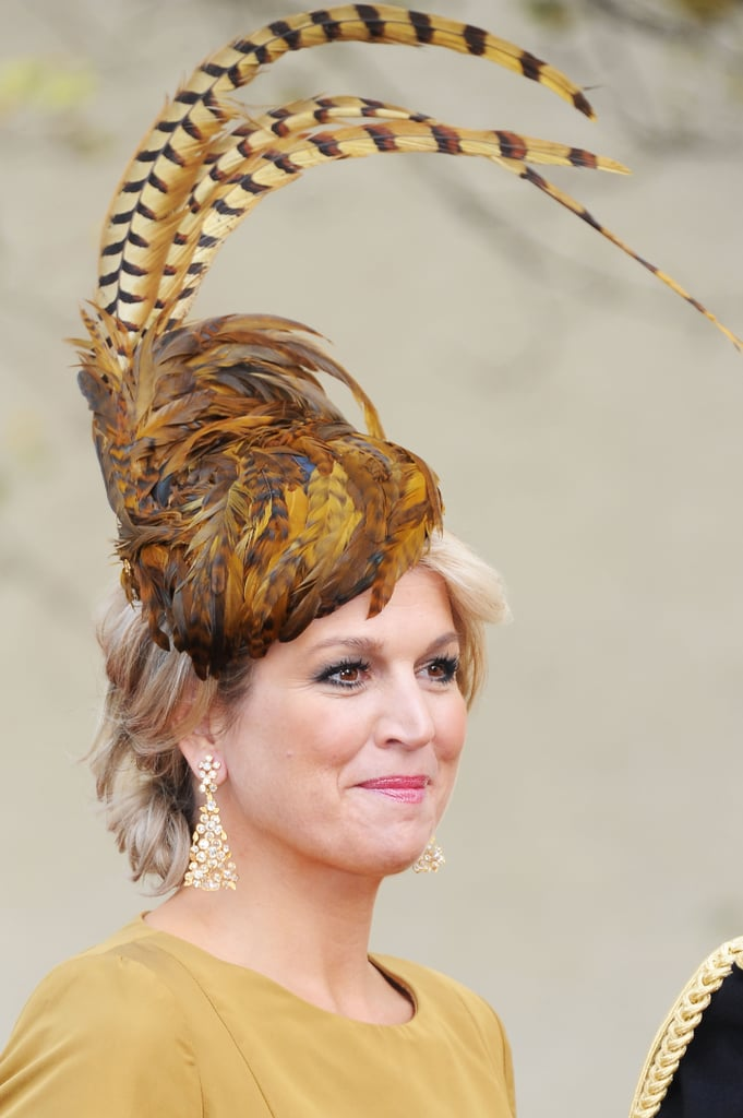 Princes Maxima of the Netherlands attended Prince Guillaume of Luxembourg's wedding in 2012 with a pheasant feather-accented fascinator.