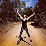 Lea Michele loves a hike and a star-jump along the way. Source: Instagram user msleamichele