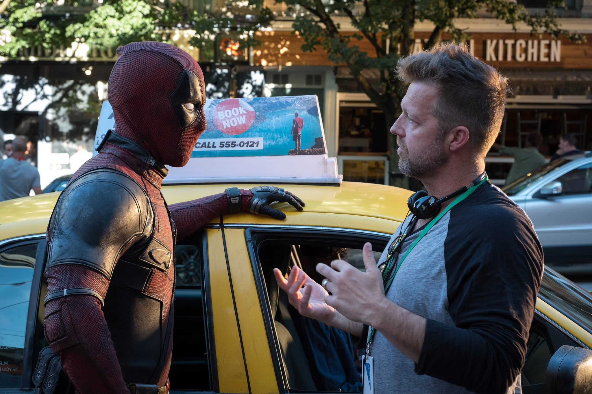 DF-02178 – Ryan Reynolds (Deadpool) and Director David Leitch on the set of Twentieth Century Fox's DEADPOOL 2. Photo Credit: Joe Lederer.