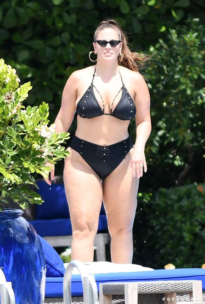 Ashley Graham Black Strappy Bikini With Studs