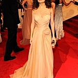 The net detail on Salma Hayek's Met Gala gown was gorgeous in 2011 in New York City.