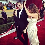 Sofia Vergara, in Donna Karan Atelier, waved to the crowd. Source: Instagram user sagawards
