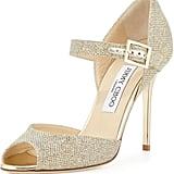 Jimmy Choo Lace Mary Jane Glitter Sandals ($625)