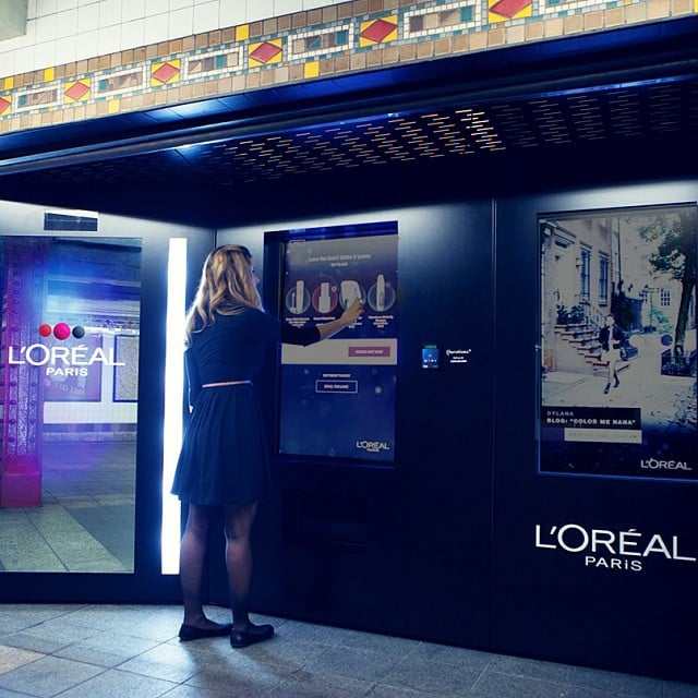 L'Oreal showed off its new interactive vending machine in the New York City subway. Source: Instagram user lorealparisusa