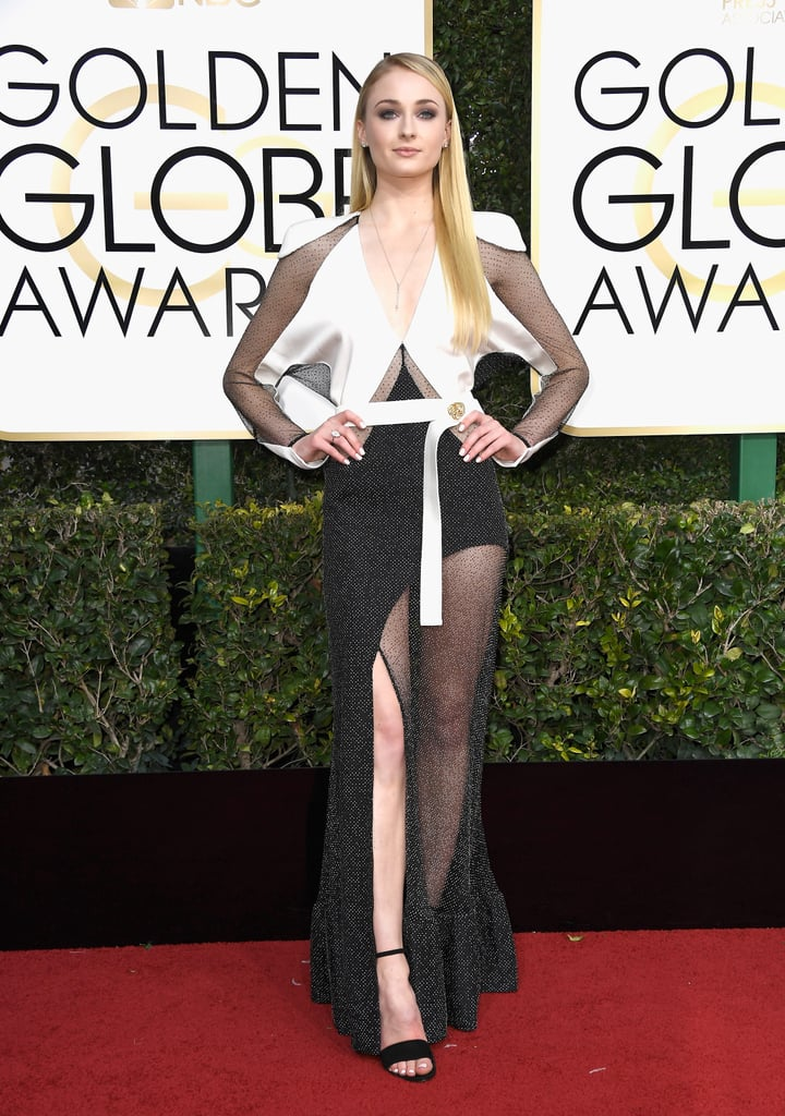 Sophie Turner in a Louis Vuitton gown with sheer panels and Forevermark jewels in 2017.