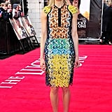 Taylor Schilling rocked a tropical colored Peter Pilotto dress to the premiere of The Lucky One in London.