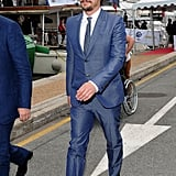 James Franco headed to the yacht party.