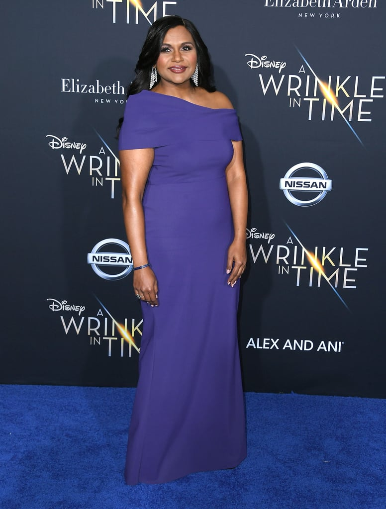 In February 2018, Mindy arrived at the LA premiere of A Wrinkle in Time in this indigo Greta Constantine number that fit her like a glove.