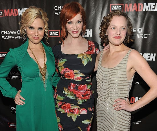 Slide Picture of Cara Buono, Christina Hendricks, Elisabeth Moss at Mad Men Season Finale Party
