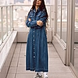 A Denim Dress With Sneakers
