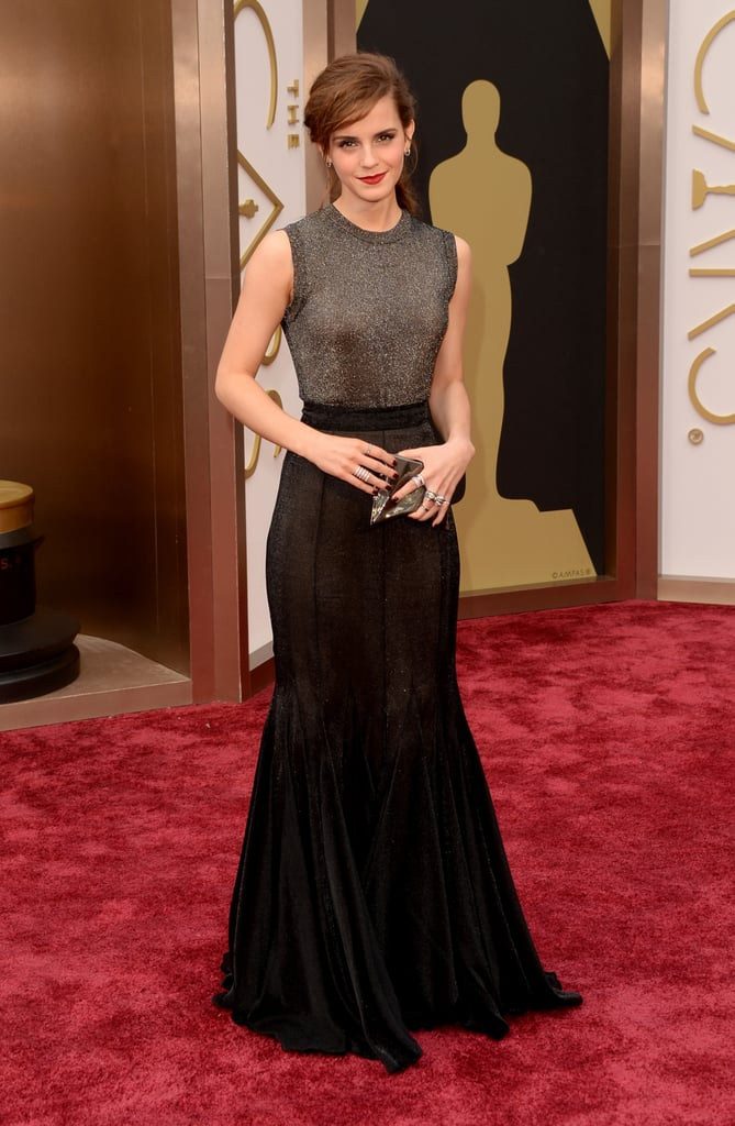 Emma Watson made quite an entrance at the Academy Awards in LA on Sunday night, wearing a metallic Vera Wang Collection dress. It's her second red carpet in as many weeks after she attended the Elle Style Awards in London earlier this month. Emma is presenting an award at tonight's show but has made headlines of her own lately for her personal life. Emma and her boyfriend hit the beach in January, confirming their relationship after speculation that the two were dating.   There are so many more Oscars looks — make sure to vote in all of our fashion and beauty polls!
