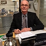 Creed Bratton posed for a portrait on the set of The Office. Source: Twitter user AngelaKinsey