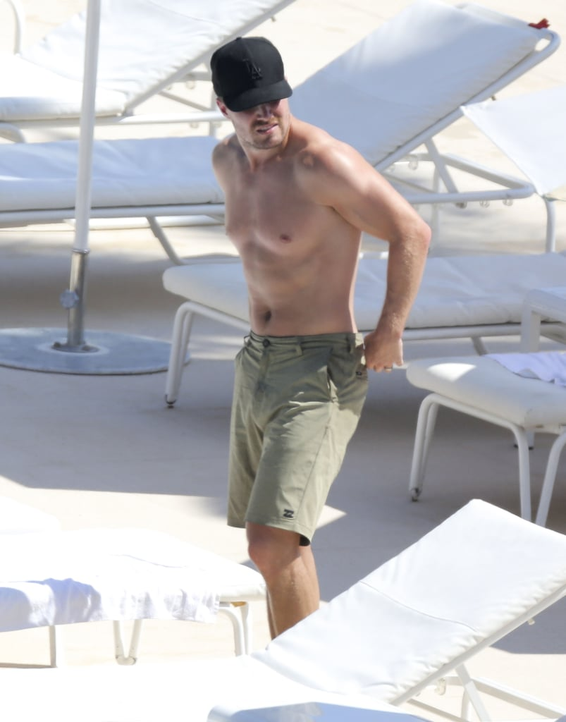 Stephen Amell showed off his fit body by the pool in Monaco on Thursday.